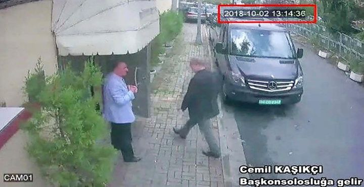 This image taken from CCTV video obtained by the Turkish newspaper Hurriyet and made available on Oct....