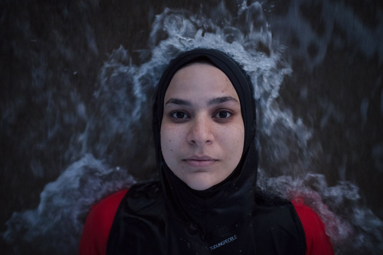 Manar Hussein at a beach in New Jersey June 26, 2019. This was Hussein's first time wearing a burkini...