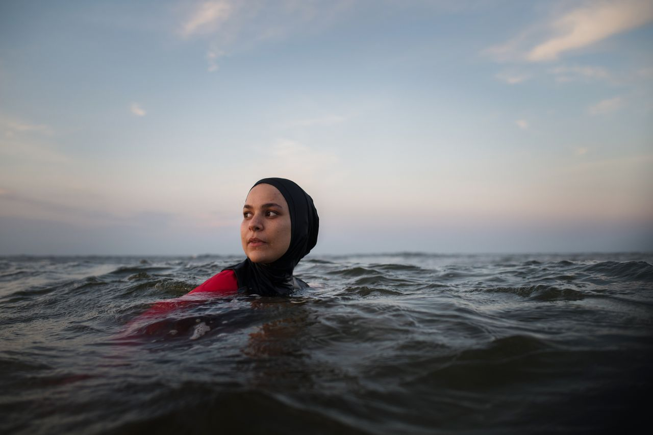 Manar Hussein at a beach in New Jersey June 26,